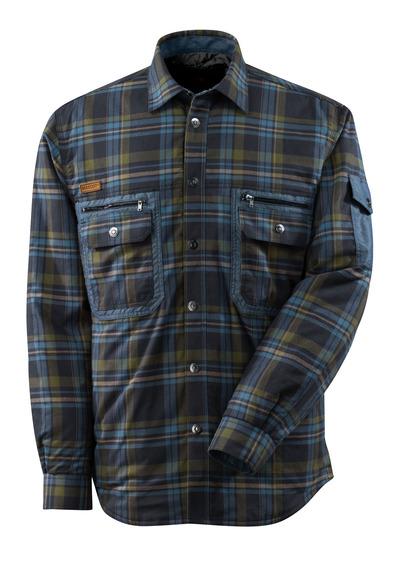 MASCOT® ADVANCED - Schwarzblau/Steinblau* - Hemd mit CLIMASCOT®-Futter, großkariertes Flannell