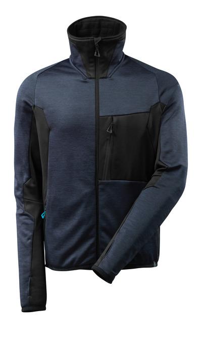 MASCOT® ADVANCED - Schwarzblau/Schwarz - Fleecepullover mit Reißverschluss, hoher Kragen, moderne Passform