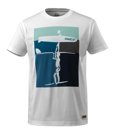 MASCOT® ADVANCED - Weiß - T-Shirt mit Surfermotiv, moderne Passform