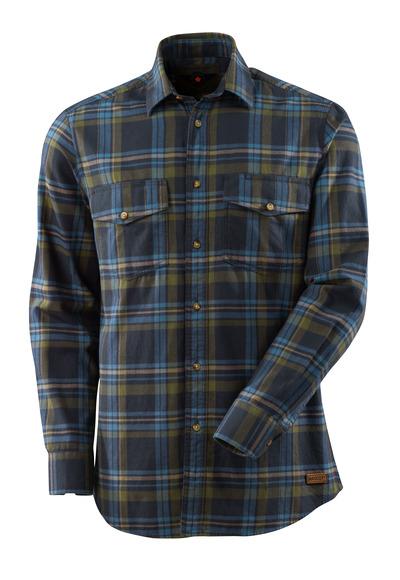 MASCOT® ADVANCED - Schwarzblau/Steinblau - Hemd aus großkariertem Flanell, moderne Passform