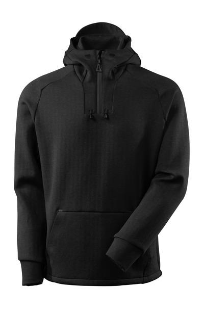MASCOT® ADVANCED - Schwarz-meliert/Schwarz - Kapuzensweatshirt mit kurzem Reißverschluss, moderne Passform