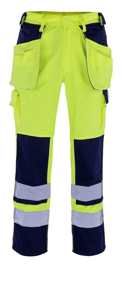MASCOT® Almas - hi-vis Gelb/Marine - Hose mit Knie- und Hängetaschen, Klasse 2