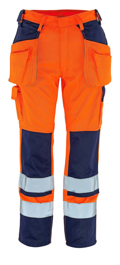 MASCOT® Almas - hi-vis Orange/Marine - Hose mit Knie- und Hängetaschen, Klasse 2