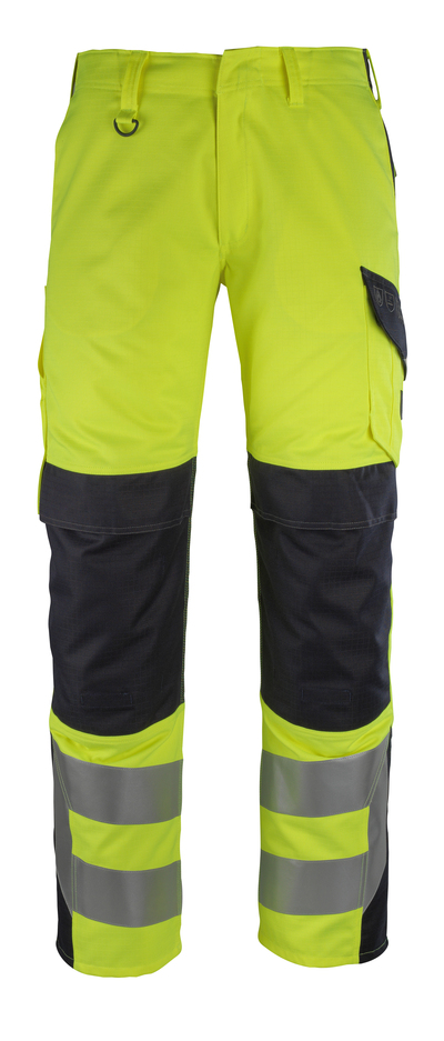 MASCOT® Arbon - hi-vis Gelb/Schwarzblau - Hose mit Knietaschen, Multischutz, Klasse 2