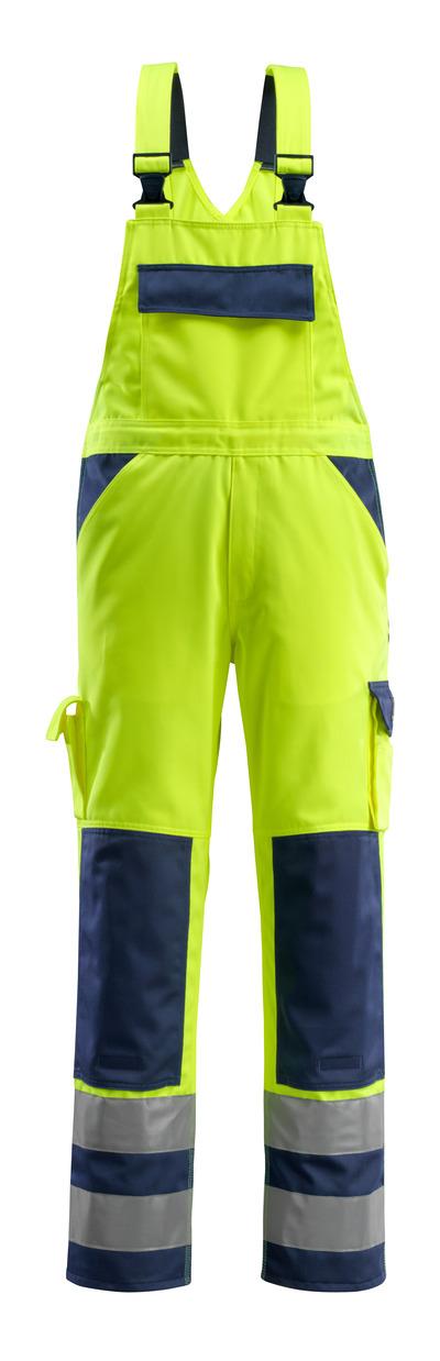 MASCOT® Barras - hi-vis Gelb/Marine - Latzhose mit Knietaschen, Klasse 2