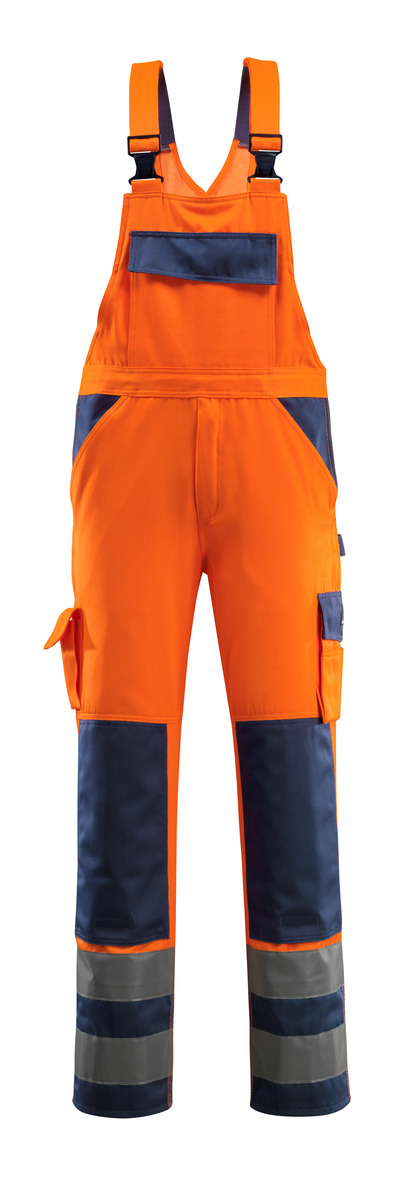 MASCOT® Barras - hi-vis Orange/Marine - Latzhose mit Knietaschen, Klasse 2