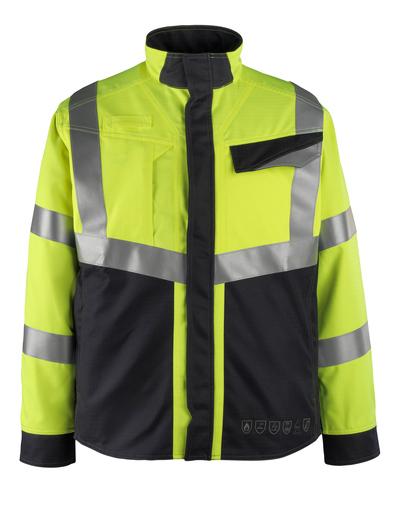 MASCOT® Biel - hi-vis Gelb/Schwarzblau - Jacke, Multischutz, Klasse 2
