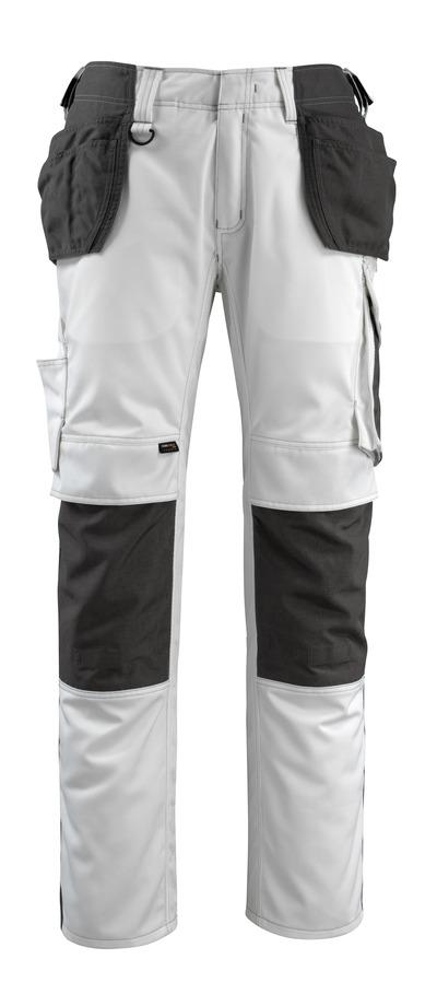 MASCOT® Bremen - Weiß/Dunkelanthrazit - Hose mit CORDURA® Knie- und Hängetaschen, hohe Strapazierfähigkeit