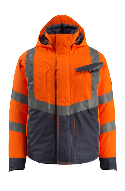 MASCOT® Hastings - hi-vis Orange/Schwarzblau - Winterjacke, wattiert, wasserdicht, Klasse 3