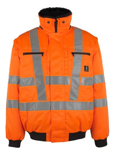 MASCOT® Innsbruck - hi-vis Orange - Pilotjacke mit herausnehmbarem Kunstpelzfutter, wasserabweisend, Klasse 3