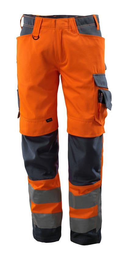 MASCOT® Kendal - hi-vis Orange/Schwarzblau - Hose mit CORDURA® Knietaschen, Klasse 2