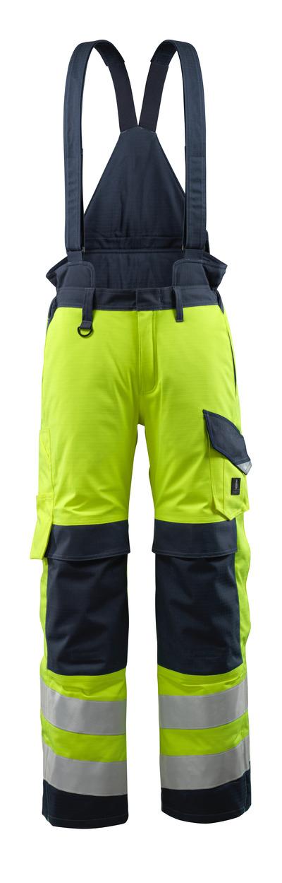 MASCOT® Renens - hi-vis Gelb/Schwarzblau - Winterhose mit Steppfutter und abnehmbaren Hosenträgern, wasserdicht, Multischutz