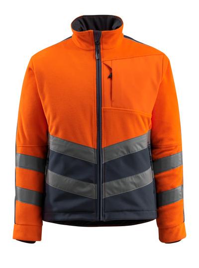 MASCOT® Sheffield - hi-vis Orange/Schwarzblau - Fleeejacke mit wattiertem und winddichtem Futter, wasserabweisend, Klasse 2