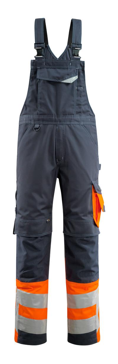 MASCOT® Sunderland - Schwarzblau/hi-vis Orange - Latzhose mit Knietaschen, Klasse 1