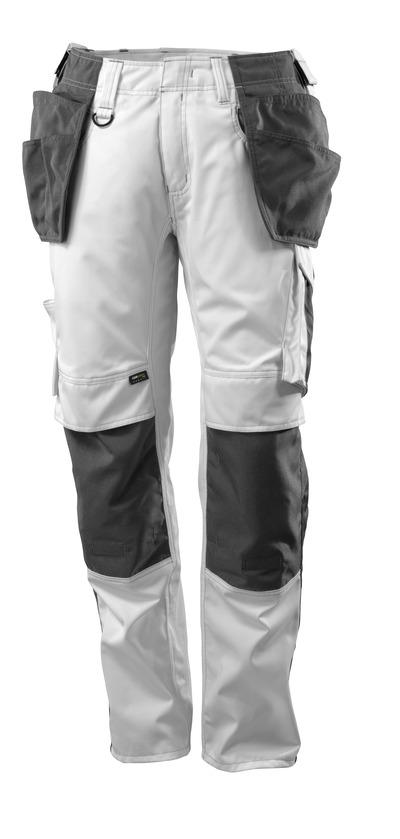 MASCOT® UNIQUE - Weiß/Dunkelanthrazit - Hose mit CORDURA® Knie- und Hängetaschen, geringes Gewicht