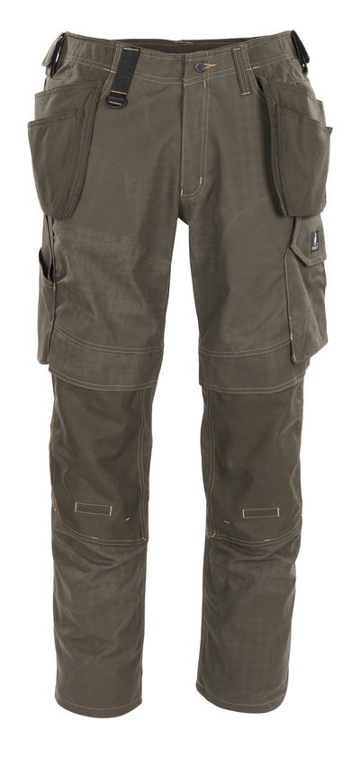 MASCOT® Velho - Dunkeloliv mit Druck* - Hose mit Knie- und Hängetaschen